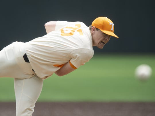 Tennessee's Zach Linginfelter pitches against Missouri at Lindsey Nelson Stadium on Sunday, May 5, 2019.