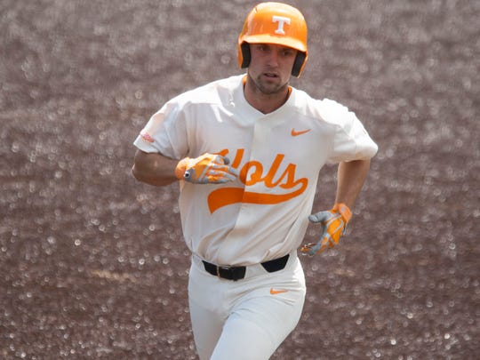 Tennessee's Andre Lipcius (13) tounds the bases after hitting a three-run homer against Missouri at Lindsey Nelson Stadium on Sunday, May 5, 2019.