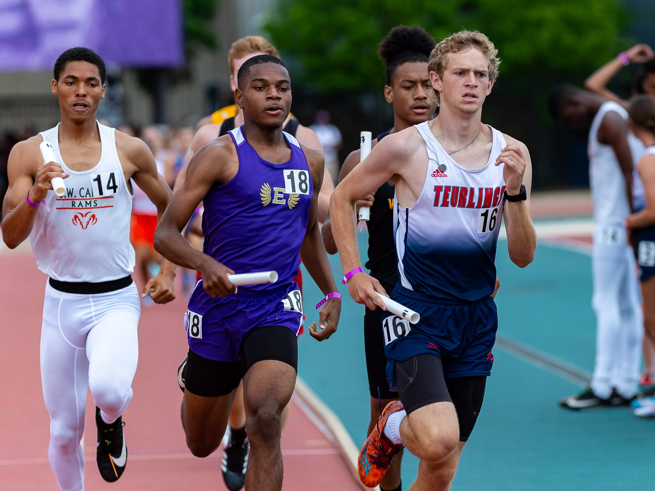 Boys 4x800 relay at the The LHSAA Sate Track Meet at Bernie Moore Track in Baton Rouge, LA. Saturday, May 4, 2019.