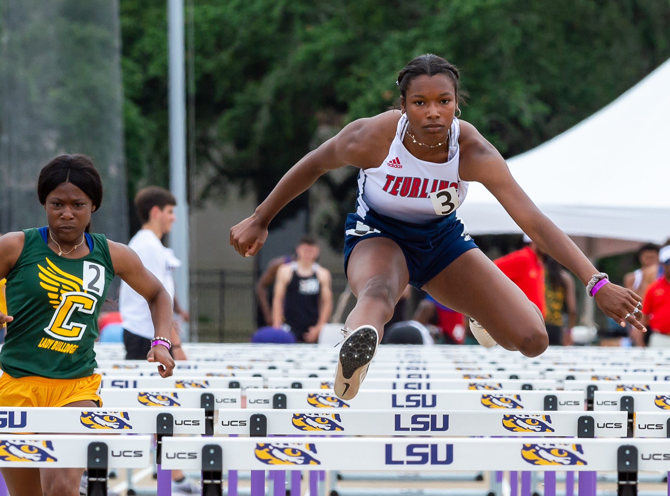 Teurlings Catholic Tyler Alcorn competes in the girls 100m hurdles at the The LHSAA Sate Track Meet at Bernie Moore Track in Baton Rouge, LA. Saturday, May 4, 2019.