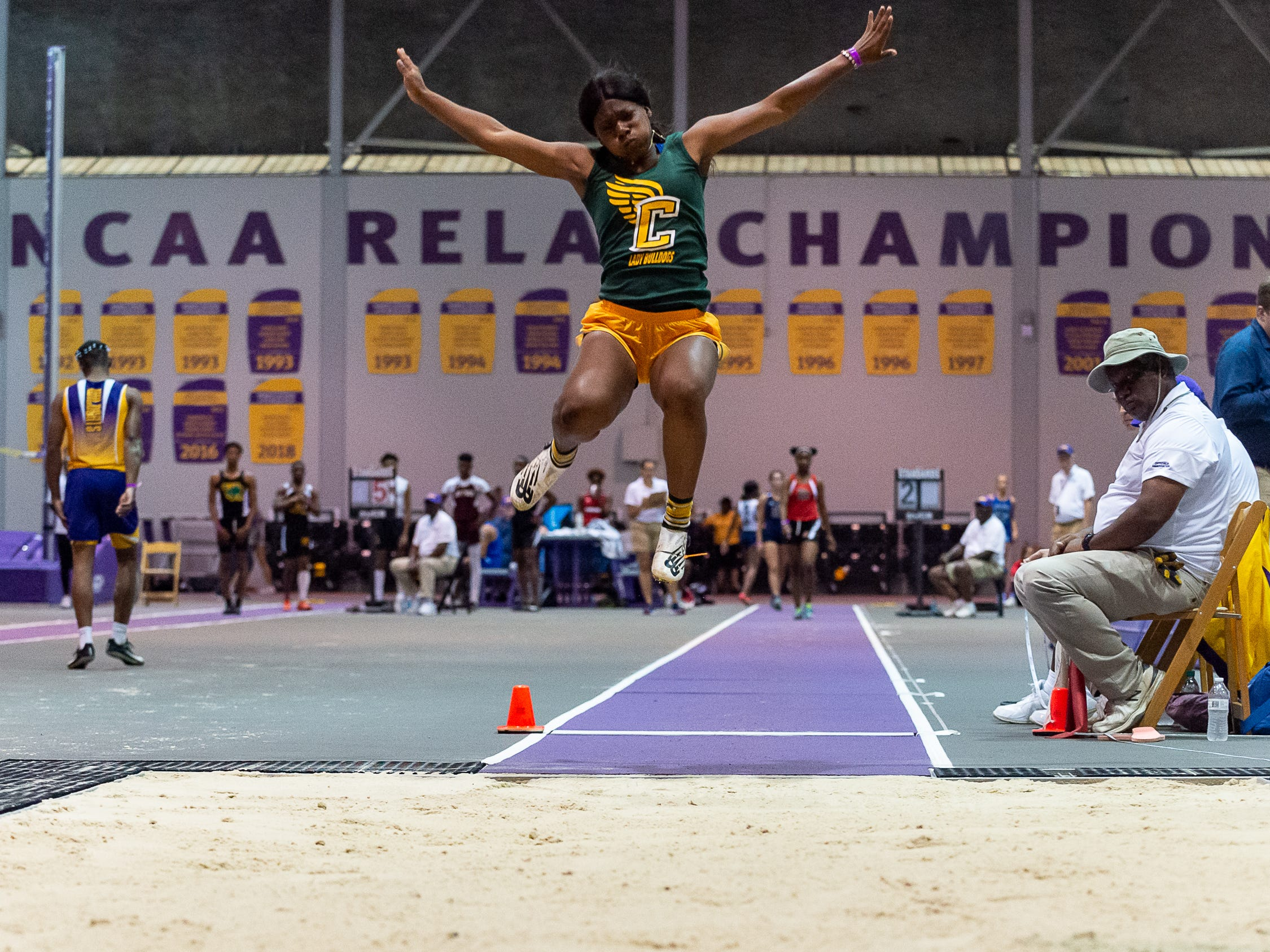 Cecelia's Karanay Alexander competes in the girls long jump at the The LHSAA Sate Track Meet at Bernie Moore Track in Baton Rouge, LA. Saturday, May 4, 2019.