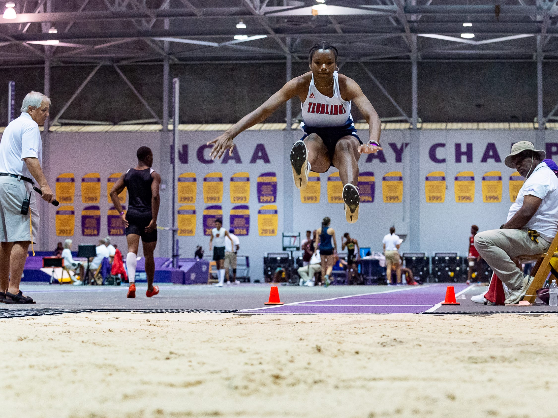 Teurlings Catholic Tyler Alcorn competes in the girls long jump at the The LHSAA Sate Track Meet at Bernie Moore Track in Baton Rouge, LA. Saturday, May 4, 2019.