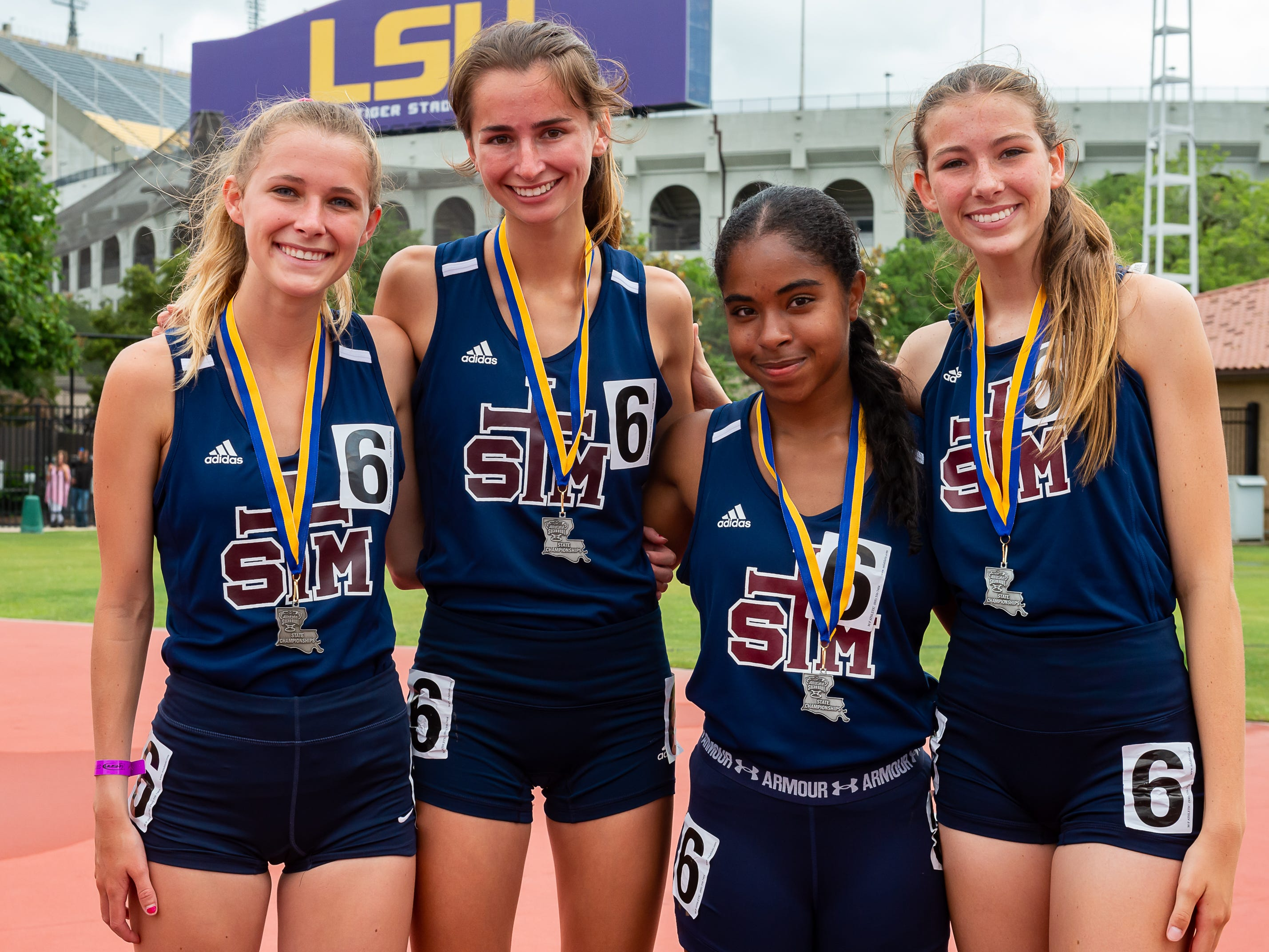 STM 4x800 girls relay team placed second at The LHSAA Sate Track Meet at Bernie Moore Track in Baton Rouge, LA. Saturday, May 4, 2019.