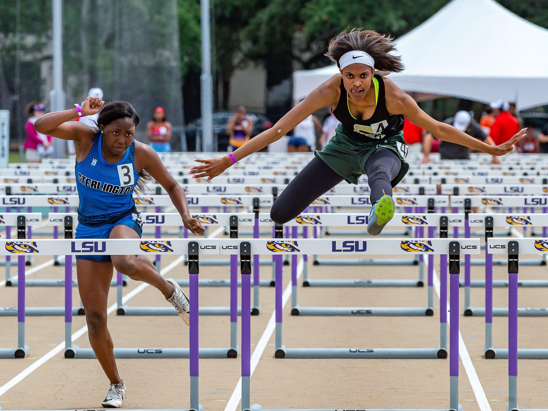 Crowleys Ajah Kneeland competes in the girls 100 m hurdlesThe LHSAA Sate Track Meet at Bernie Moore Track in Baton Rouge, LA. Saturday, May 4, 2019.