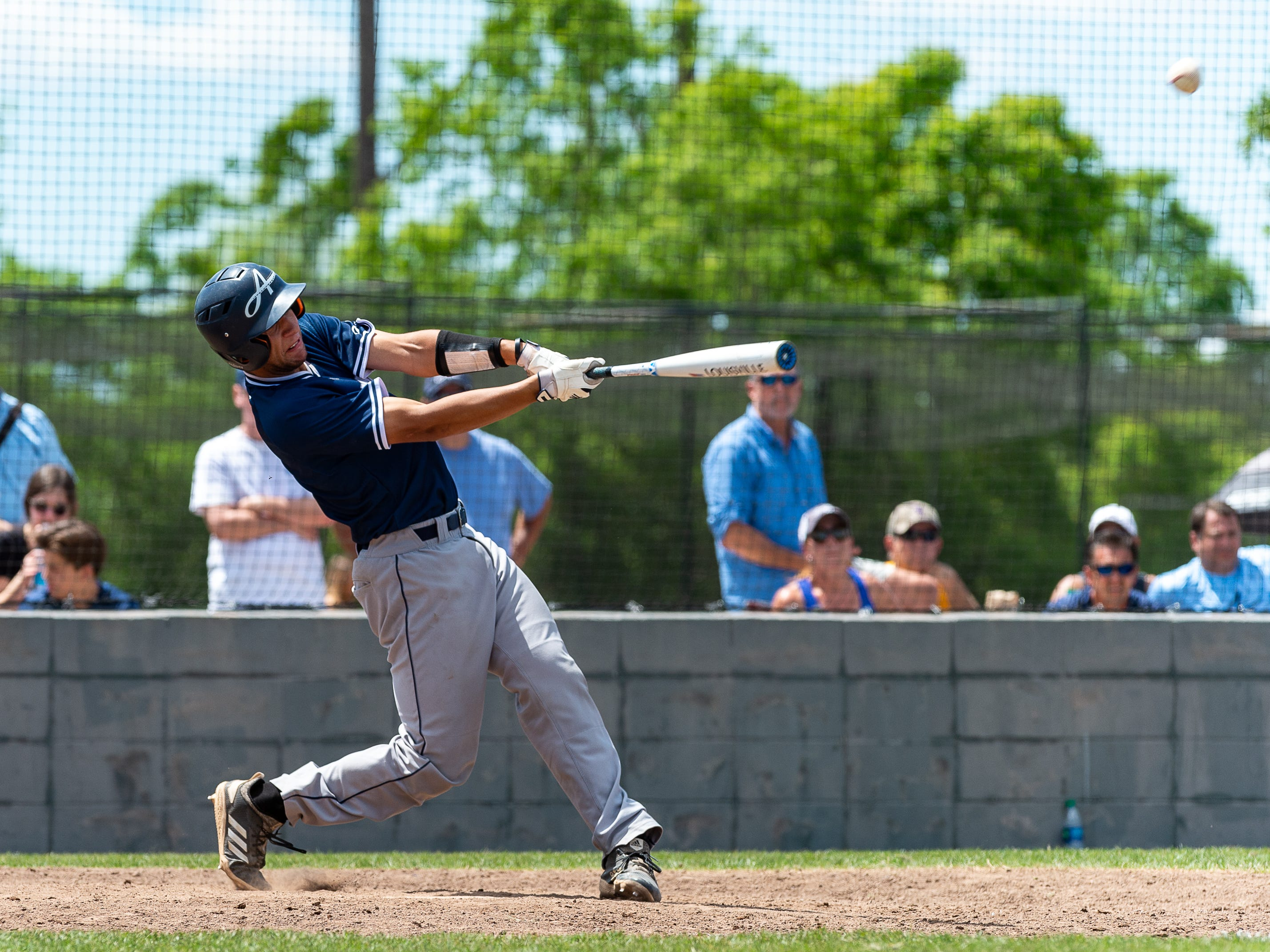 Austin Arceneaux at the plate as the Ascension Blue Gators take on Holy Savior Menard in game two of the semi final round of the LHSAA playoffs. Sunday, May 5, 2019.