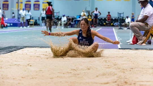 STM's Camille Hensarling competes in the girls long jump at the The LHSAA Sate Track Meet at Bernie Moore Track in Baton Rouge, LA. Saturday, May 4, 2019.
