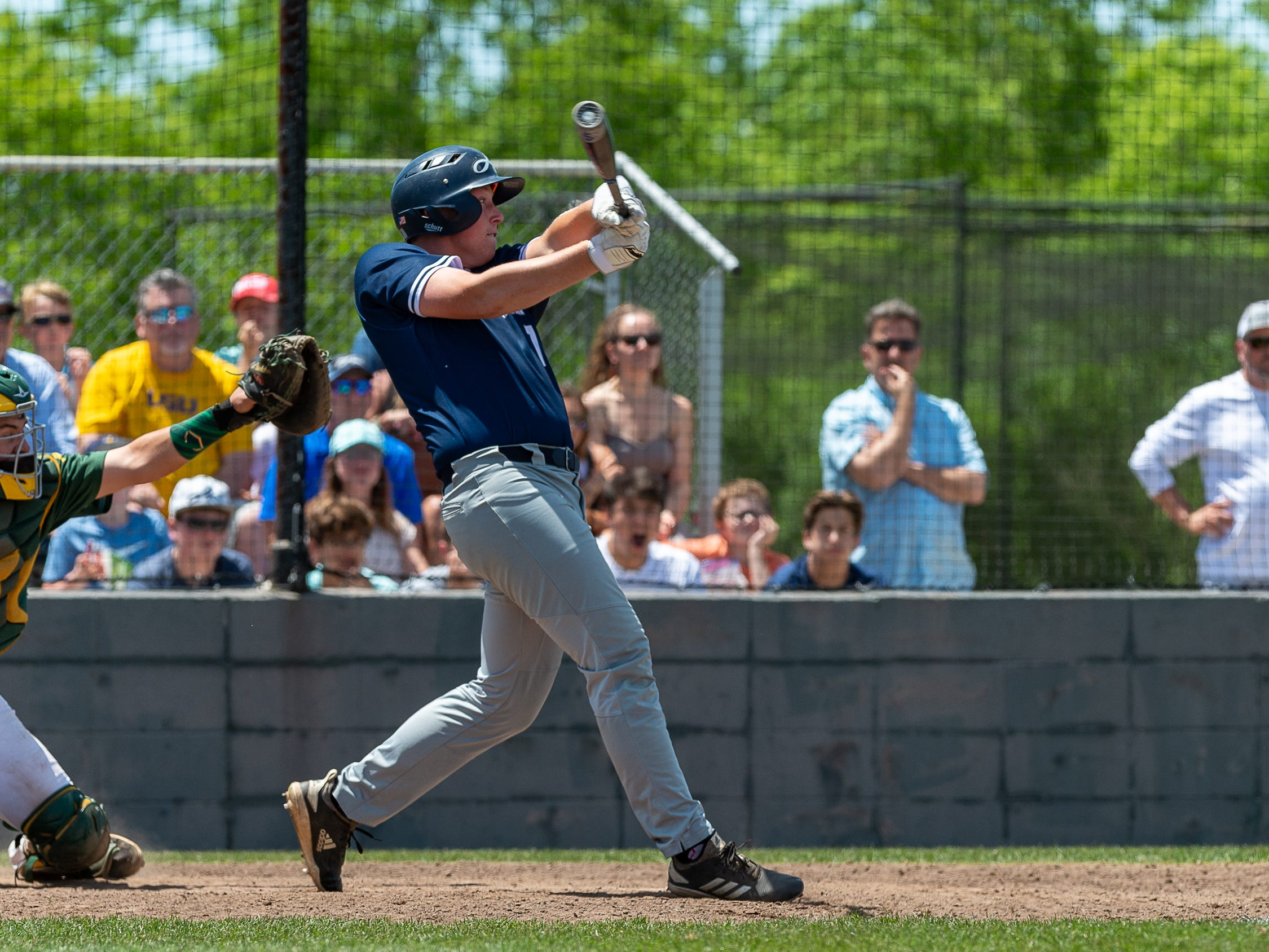 Drake Lee at the plate as the Ascension Blue Gators take on Holy Savior Menard in game two of the semi final round of the LHSAA playoffs. Sunday, May 5, 2019.