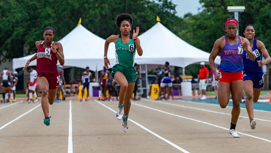 Lafayette High's Alexas Bender  runs the girls 100m dash at The LHSAA Sate Track Meet at Bernie Moore Track in Baton Rouge, LA. Saturday, May 4, 2019.