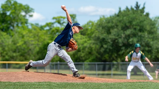 Preston Ocmand on the mound as the Ascension Blue Gators take on Holy Savior Menard in game two of the semi final round of the LHSAA playoffs. Sunday, May 5, 2019.