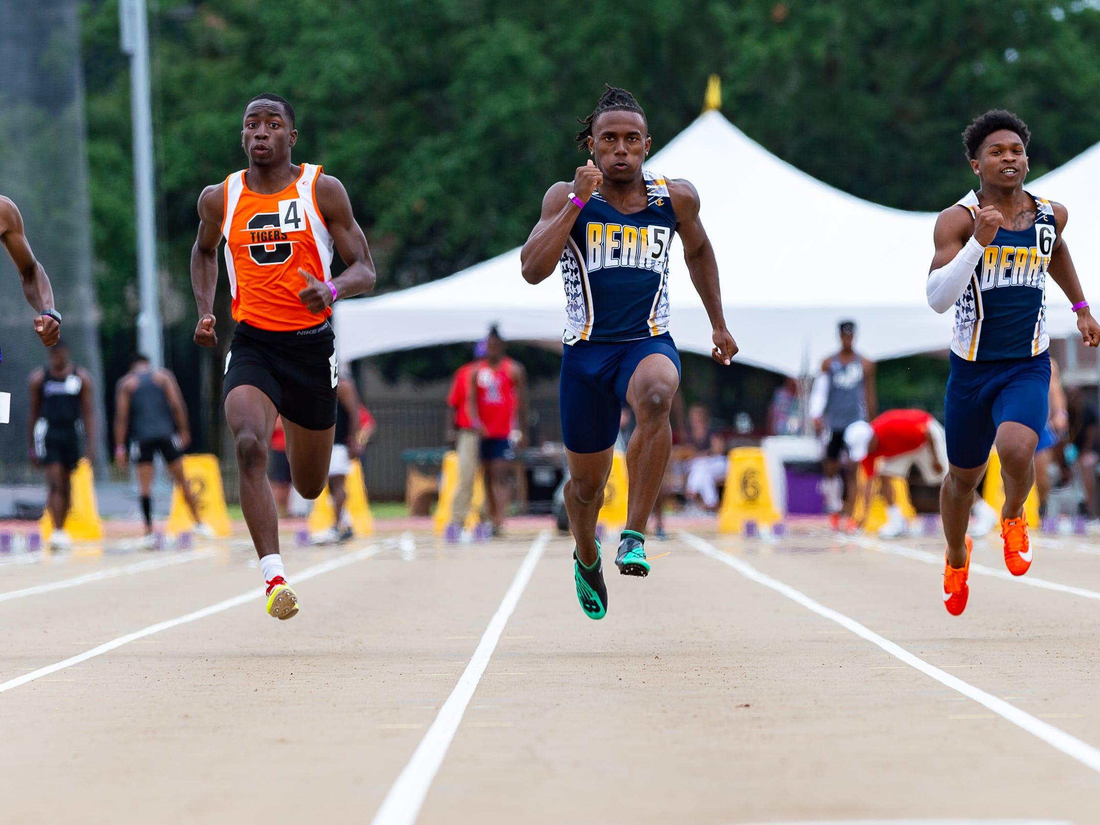 Carencro's Trejun Jones wins the boys 100m dash at The LHSAA Sate Track Meet at Bernie Moore Track in Baton Rouge, LA. Saturday, May 4, 2019.