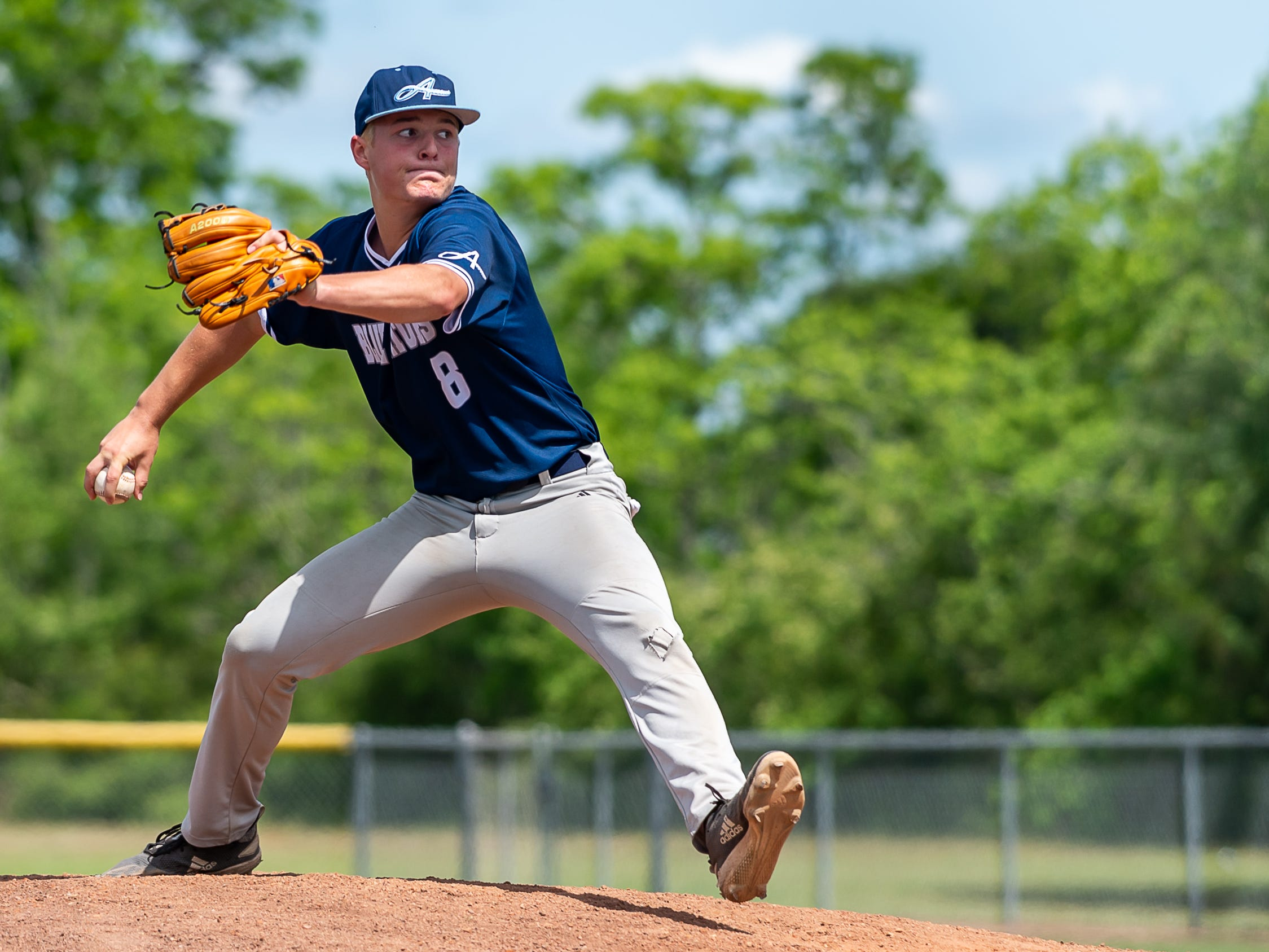 Cole Simon on the mound as the Ascension Blue Gators take on Holy Savior Menard in game two of the semi final round of the LHSAA playoffs. Sunday, May 5, 2019.