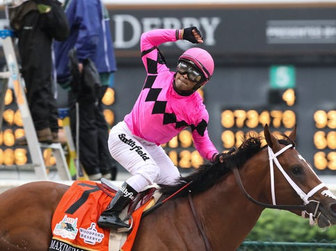 Jockey Luis Saez reacted after finishing first aboard Maximum Security in the Kentucky Derby at Churchill Downs, but was later disqualified. The decision awarded the race to Kentucky Derby 2019 winner Country House. May 4, 2019.