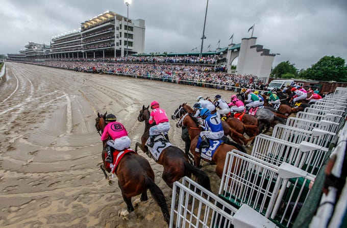 Horses leave the starting gate for the 145th Kentucky Derby. May 4, 2019
