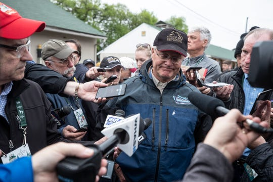 Kentucky Derby winning trainer Bill Mott answered questions from the media on the backside of Churchill Downs the morning after County House was declared winner of the race. May 4, 2019