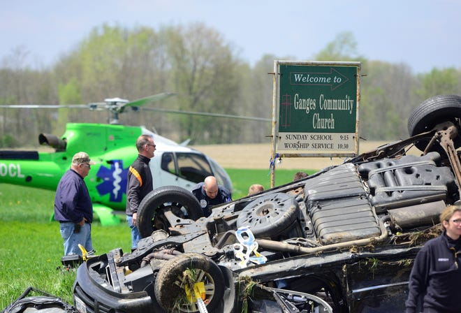 Multiple fire departments and EMS officials responded to the intersection of Ganges-Five Points Road and Ohio 96 for a multi-vehicle crash on Sunday, May 5, 2019.