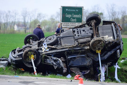 Multiple fire departments and EMS officials responded to the intersection of Ganges-Five Points Road and Ohio 96 for a two-vehicle crash on Sunday, May 5, 2019.