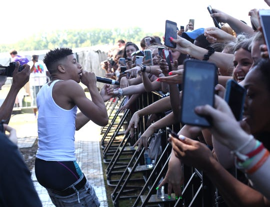 NLE Choppa interacts with his fans while performing Sunday at the 2019 Beale Street Music Festival, part of the Memphis in May International Festival at Tom Lee Park in Downtown Memphis.