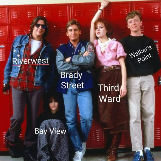 "Milwaukee resident Melva Sabatke made a meme comparing Milwaukee neighborhoods to characters in ""The Breakfast Club."""