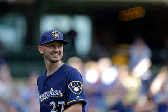 Brewers starter Zach Davies smiles after being taken out of the game in the eighth inning