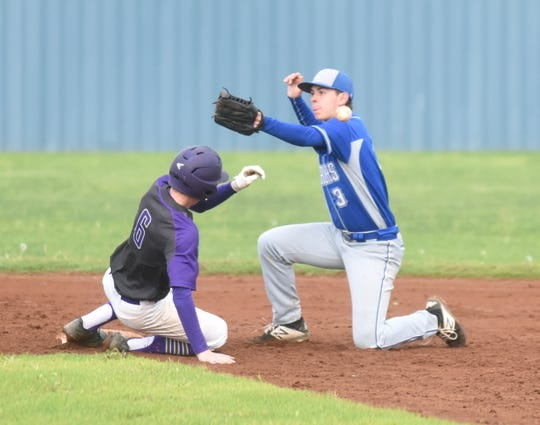 Cotter second baseman Tucker Coots tries to handle the throw as it skips off Lavaca baserunner Tyler Hobbs on Saturday.