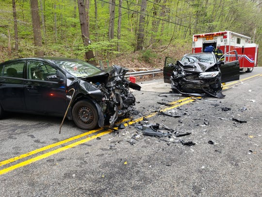 Three people, including an 18-year-old Somerset girl and her 15-year-old passenger, were injured in this two-car crash on Berkshire Valley Road in Jefferson, police said. May 4, 2019.