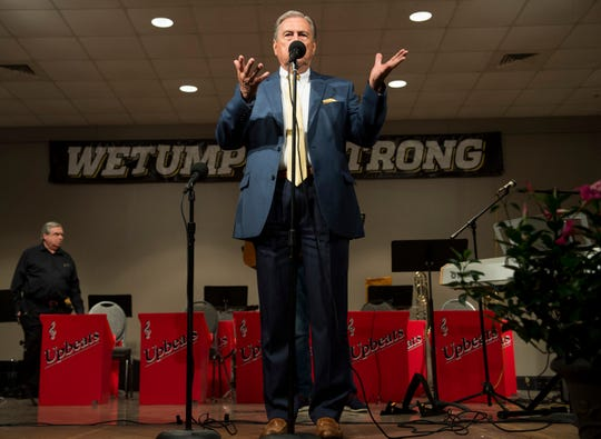 Mayor Jerry Willis speaks during the After the Storm Community Luncheon in Wetumpka, Ala., on Sunday, May 5, 2019.