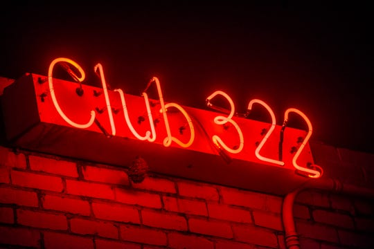 A neon sign for Club 322 lights up the building's exterior. Downtown Montgomery's Club 322 held it's farewell party Saturday, May 4, 2019, which lasted until early Sunday morning.