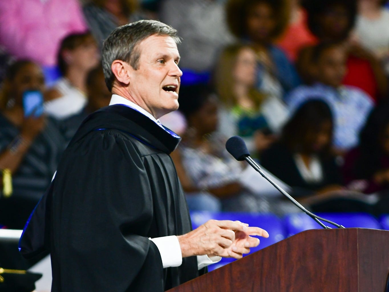 Tennessee Gov. Bill Lee was the keynote speaker for the afternoon undergraduate ceremony at MTSU on Saturday, May 4, 2019.
