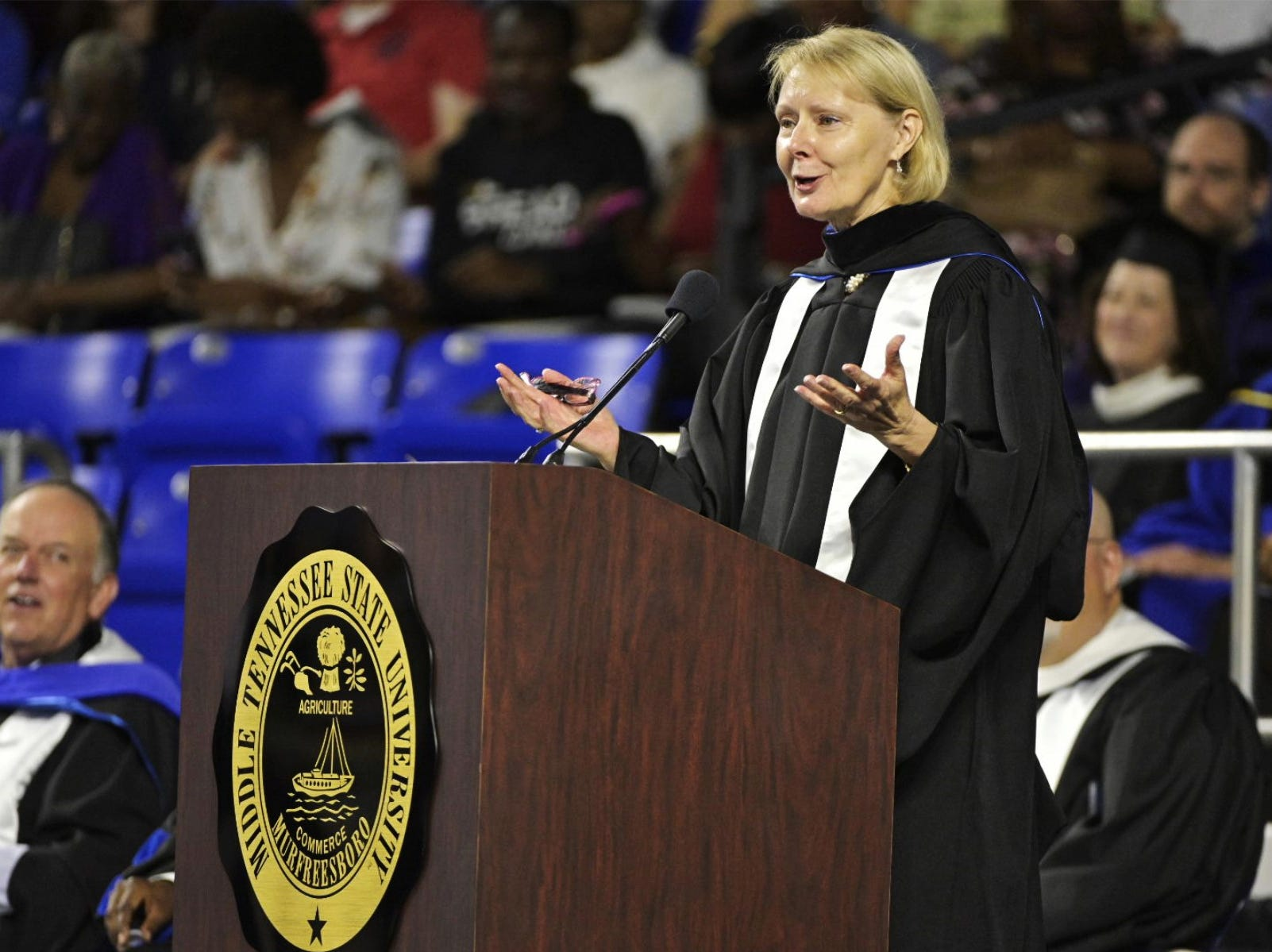 MTSU Board of Trustee member Christine Karbowiak was the speaker for the MTSU commencement ceremony on Saturday, May 4, 2019 for undergraduates at Murphy Center.