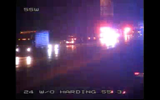 A portion of I-24 eastbound closed at Hardin Place after a vehicle fire Saturday night.