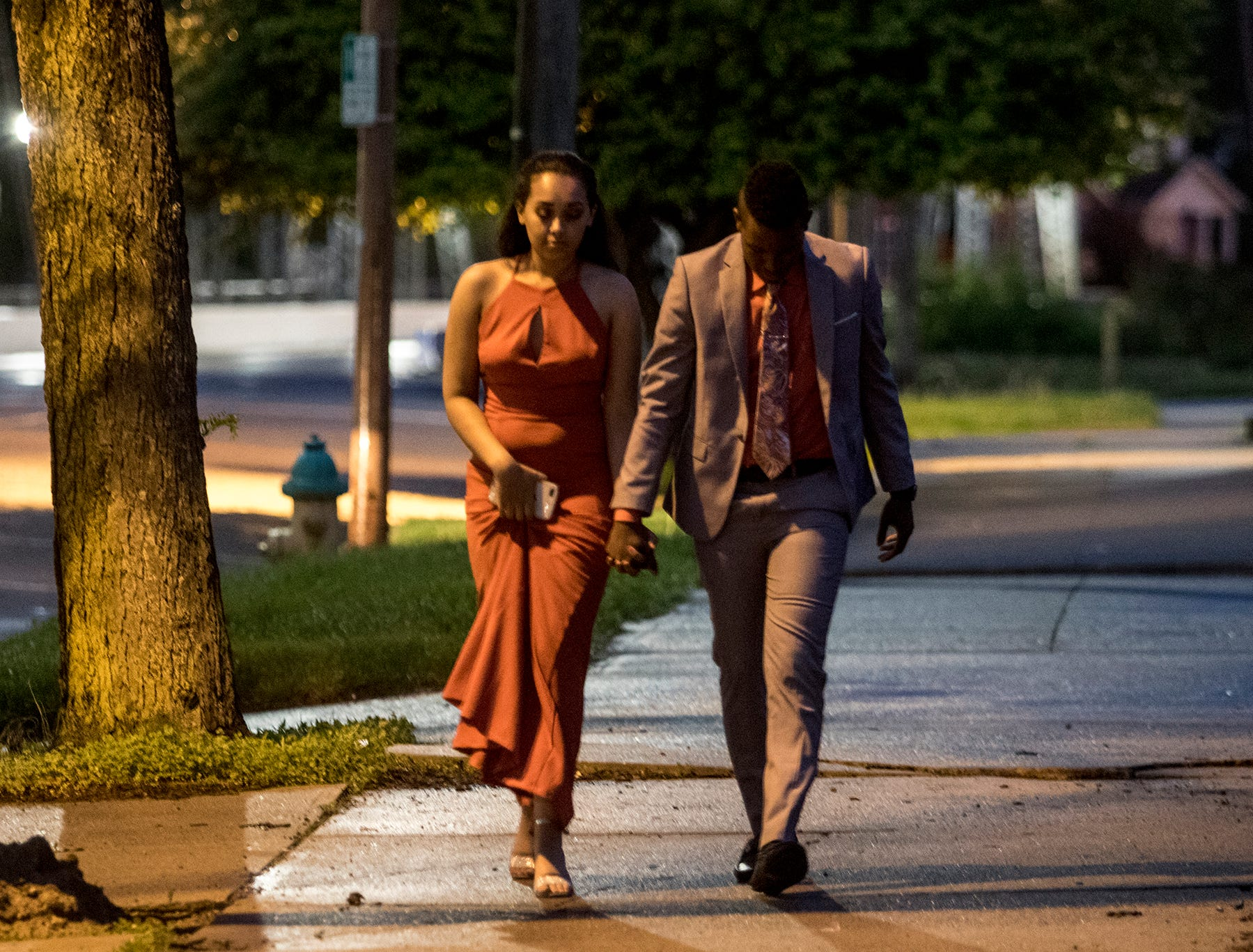 Kevon Allen and Kaleyah Lindsay arrive for the Newark High School prom at the Skylight in downtown Newark Saturday night.
