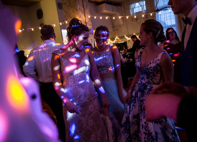 Newark High School students Courtney Brown and Hailey Sutyak enjoyed their prom at the Skylight in downtown Newark in May of 2019.