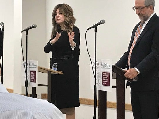 Mental health experts Lisa Twerski, LCSW and Dr. Norman Blumenthal speaking about the importance of eliminating stigma at a community forum on Sunday in Teaneck