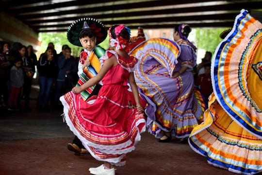 The corner on Dayton Ave. and Monroe Ave .in Passaic was named Plaza Garibaldi on Cinco de Mayo on May 5, 2019. Christian Gonzalez, 9 and Jayliah Villa, 7 perform Mexican folk dance with Baile Folklorico Raices Mexicanas.