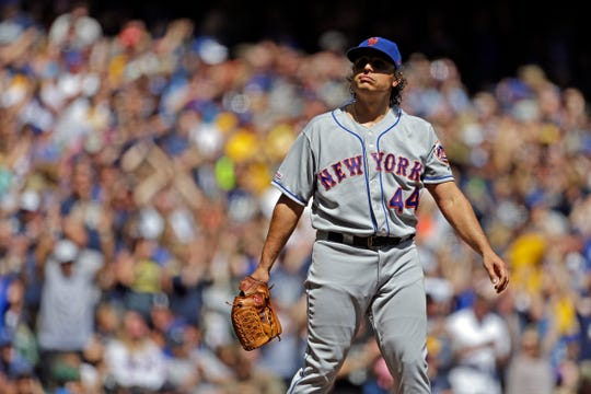 New York Mets' Jason Vargas reacts after giving up a two-run home run to Milwaukee Brewers' Christian Yelich during the third inning of a game Sunday, May 5, 2019, in Milwaukee.