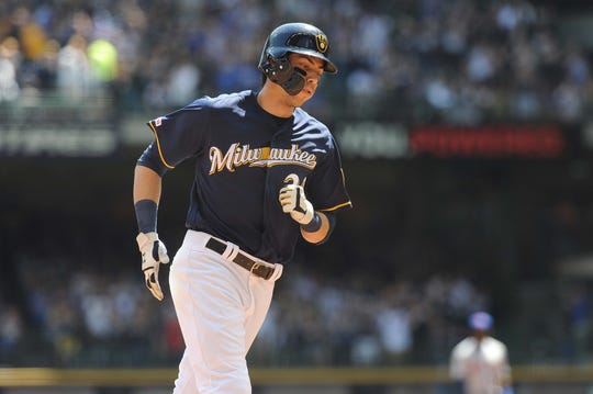 May 5, 2019; Milwaukee, WI, USA; Milwaukee Brewers outfielder Christian Yelich rounds the bases after hitting a home run in the third inning against the New York Mets at Miller Park.