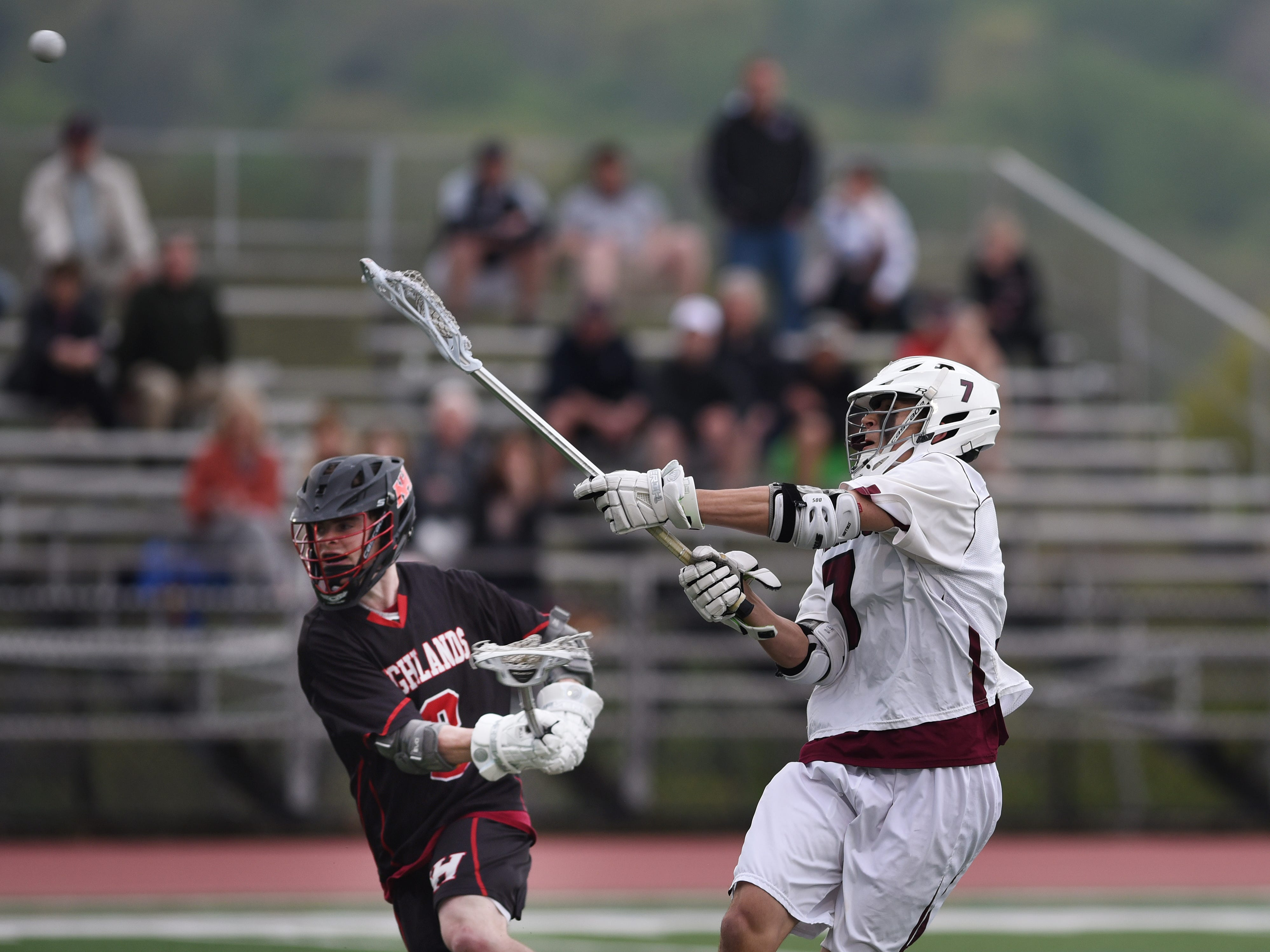 Ridgewood lacrosse plays Northern Highlands at Mahwah on Saturday May 4, 2019. NH#3 Brian Mastriano and R#7 Liam Curley.