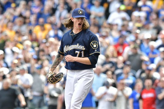 May 5, 2019; Milwaukee, WI, USA; Milwaukee Brewers pitcher Josh Hader (71) shows emotion as he strikes out the last New York Mets batter in the ninth inning at Miller Park. Milwaukee Brewers won 3-2. The Milwaukee Brewers won 3-2.