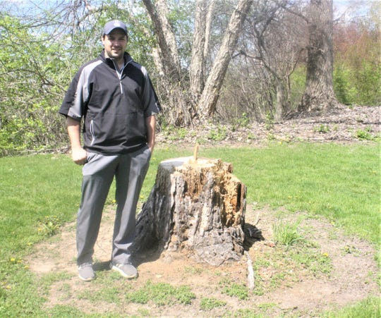 New Hilltop Golf Course General Manager Jim Gorney  stands next to the stump of a dead tree that his staff has taken down to help make the course a friendlier playing environment.