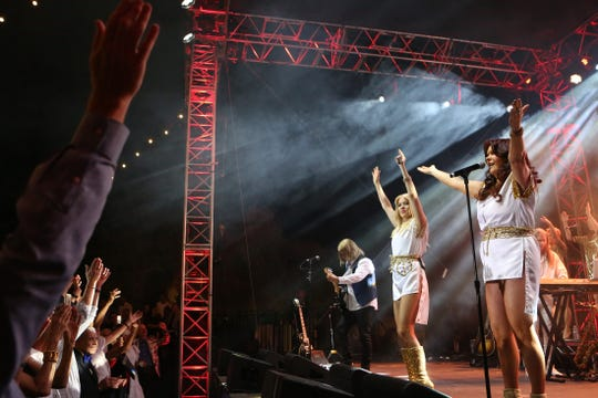 Arrival performs songs by ABBA Saturday during at the 26th anniversary Evening Under the Stars gala in Palm Springs.