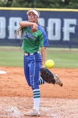 UWF's Grace Gilbert (13) pitches against West Georgia in the Gulf South Conference championship game on Sunday, May 5, 2019, at the University of West Florida.  The remainder of the UWF softball remains in jeopardy due to the COVID-19 pandemic.