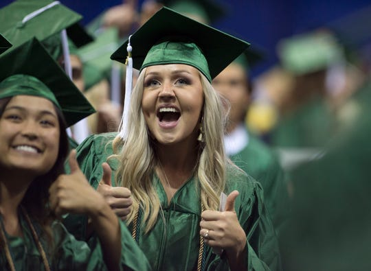 "Pensacola State College graduates celebrate at their spring commencement at the Pensacola Bay Center. PSC was the top-ranked public regional college in Florida, the third-ranked public regional college in the South and No. 26 among the South's 124 public and private regional colleges in U.S. News & World Report's ""2020 Best Colleges"" rankings."