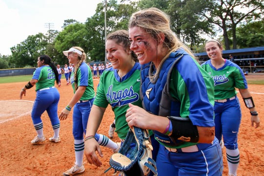 The Argos celebrate winning their fourth GSC softball title after beating West Georgia 4-1 in the Gulf South Conference championship game on Sunday, May 5, 2019, at the University of West Florida.