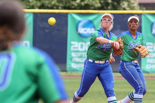 UWF second baseman Mallory Vining (16) tries to turn a double play against West Georgia in the Gulf South Conference championship game on Sunday, May 5, 2019, at the University of West Florida. The Argos won their fourth GSC softball title after beating the Wolves 4-1.