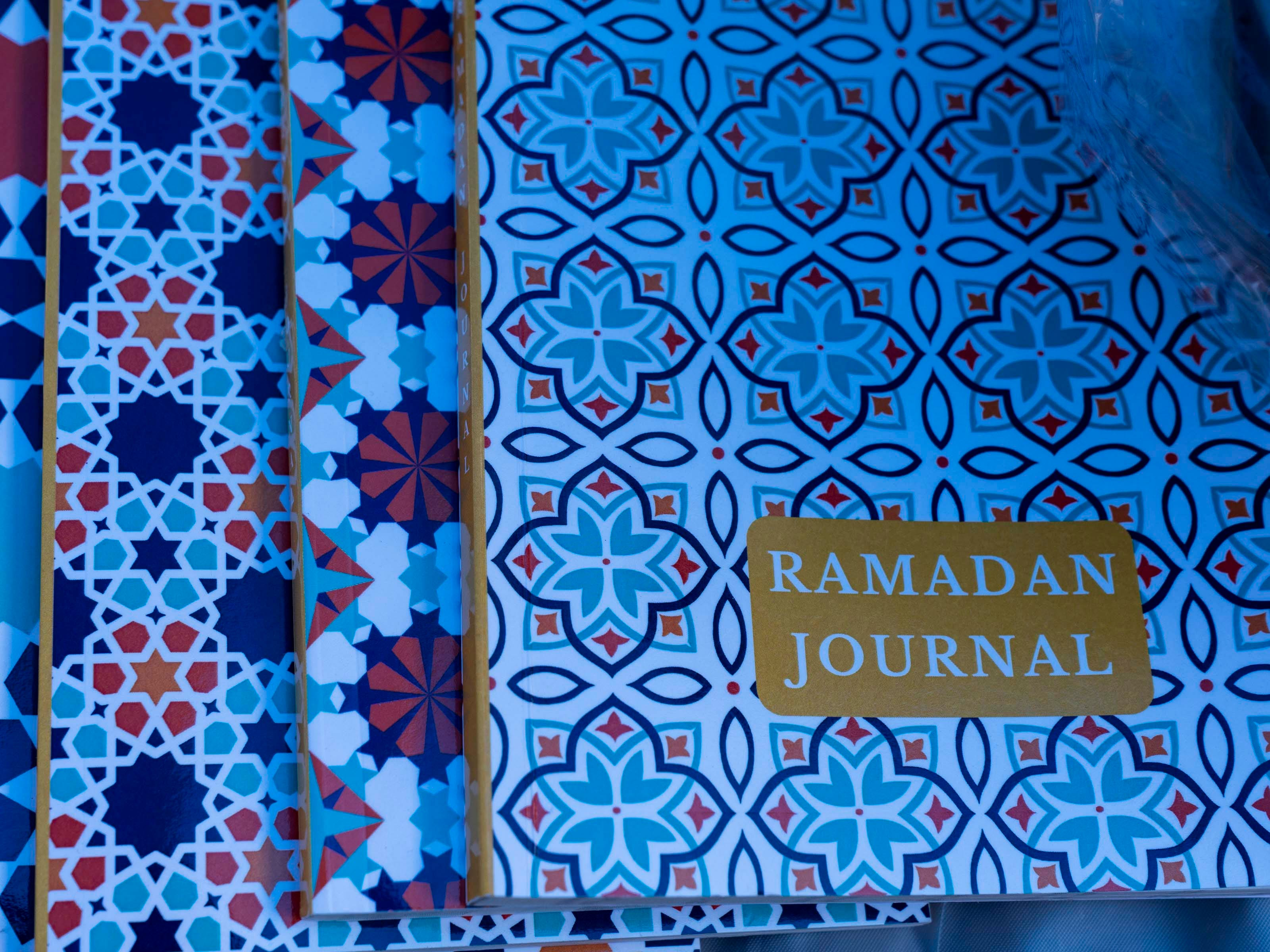 Ramadan journals are displayed for Muslim community shoppers to purchase for Ramadan at Tempe Islamic Cultural Center.