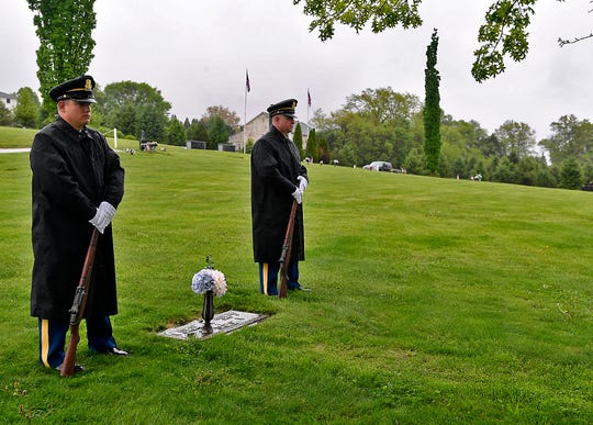 The Fraternal Order of Police (FOP) Lodge 15 hold their annual memorial service for fallen officers, Sunday, May 5, 2019 at Faith United Church of Christ. Following the service members visited the graves of Henry Schaad and Alex Sable at Prospect Hill Cemetery. John A. Pavoncello photo