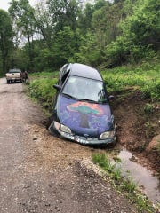 "Mushroom car driver was ""messing around"" and pulled the emergency brake while driving on Gut Road in East Manchester Township. The results were as you would expect."