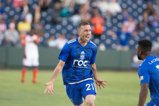 Corey Hertzog scored twice as Reno 1868 FC tied with Tulsa Roughnecks FC 2-2, on Saturday at Greater Nevada Field in Reno.