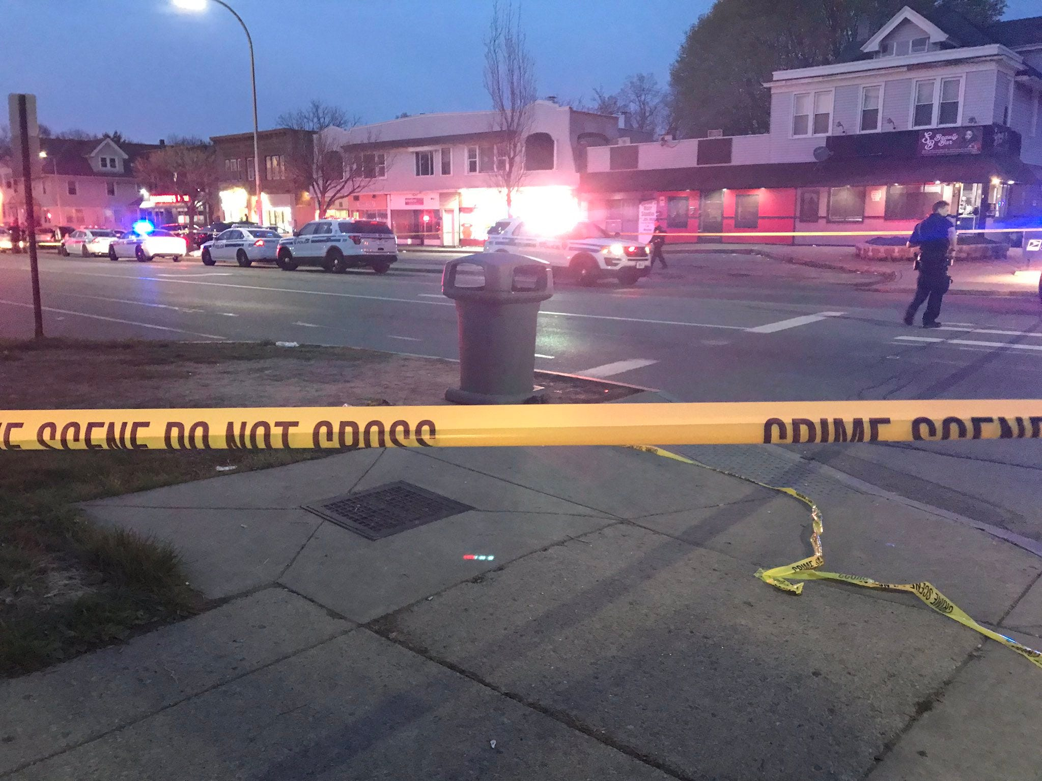 Police have closed off Dewey Avenue after a shooting in the Maplewood neighbhorhood on May 4, 2019.
