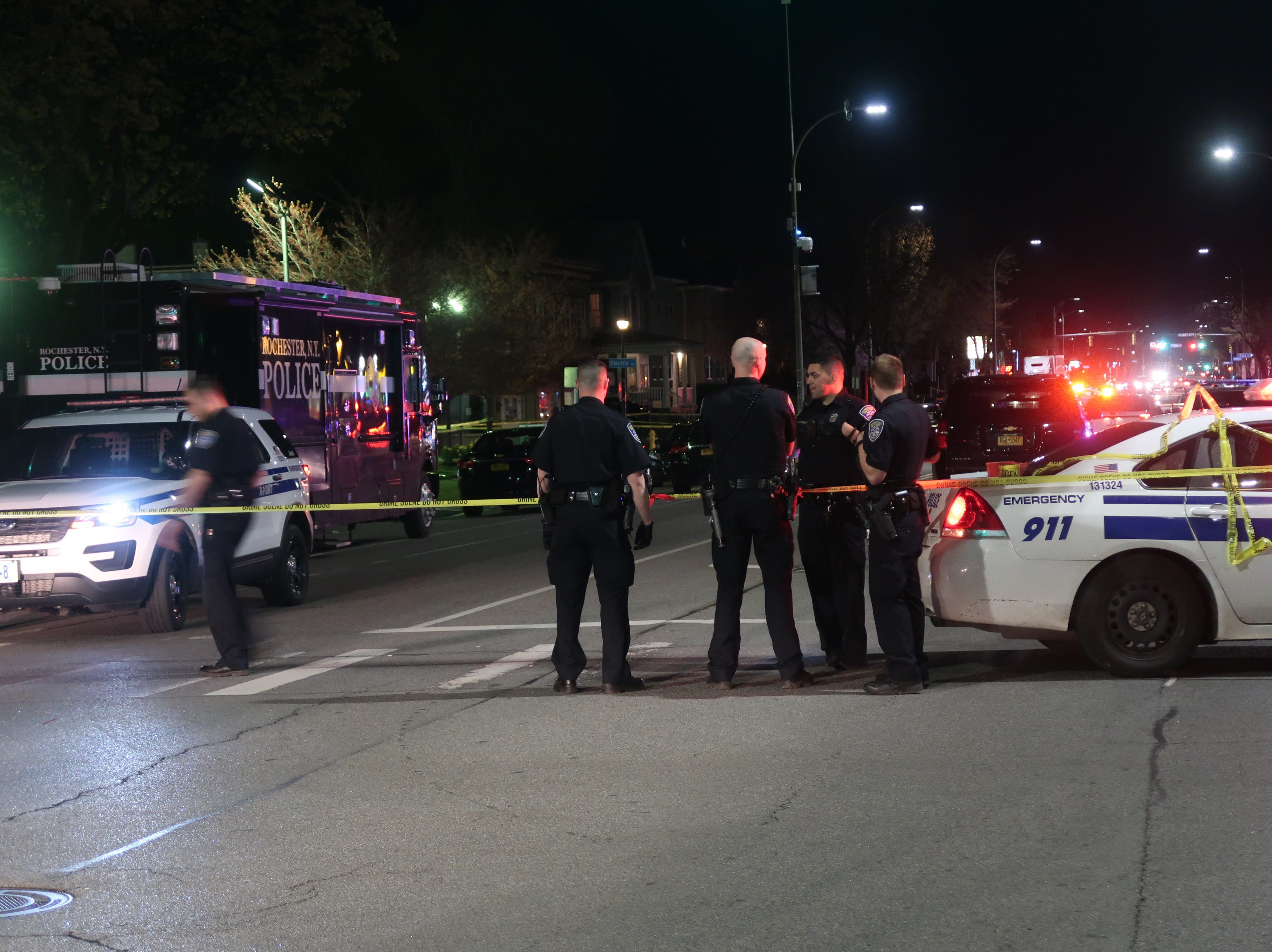 The scene near where Jalen Everett was shot and killed Saturday near Dewey Avenue in Rochester.